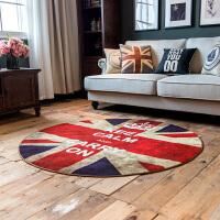 米字旗吊篮地毯地垫圆形客厅茶几垫 复古英伦风卧室电脑椅垫薄款 怀旧英伦风 圆(涤纶)