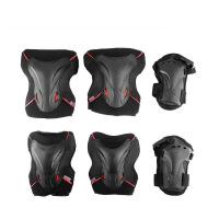 318护具轮滑滑板护具护膝护掌护肘6件套儿童护具 黑色