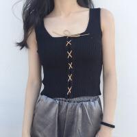 2018新款吊带背心女修身显瘦针织系带短款上衣外穿内搭打底衫 均码