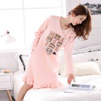 韩观女款睡裙长袖秋冬季宽松加大码睡衣甜美可爱孕妇外穿