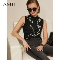 Amii极简修身百搭针织背心女2021夏季新款半高领撞色提花黑色上衣