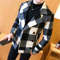 冬季毛呢大衣男短款青年韩版修身风衣韩国羊毛妮子大衣外套加厚潮 黑白格子 M(80-95斤)