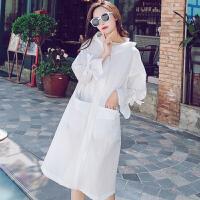 防晒衣女中长款夏季2018新款韩版宽松长袖防晒服衫透气女士薄外套