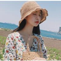 范智乔同款帽子夏季针织渔夫帽女韩国文艺小清新凹造型盆帽遮阳帽 (横 麻花)-咖啡色 M(56-58cm)