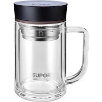苏泊尔双层玻璃杯带盖手柄把便携水晶杯办公室水杯男过滤泡茶杯子