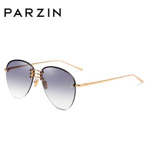 帕森太阳镜 女士圆框金属半框浅色尼龙镜片潮墨镜 2018新品7723