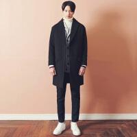 2017秋冬新款韩版双面羊绒大衣男 中长款男士毛呢大衣外套