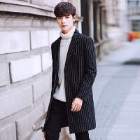 秋冬季韩版修身毛呢大衣男士中长款风衣青年潮流呢子外套男 黑色 M