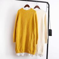 秋冬新款蕾丝拼接假两件毛衣裙中长款套头针织衫女韩版打底衫 均码-企业生产
