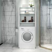 滚筒洗衣机置物架阳台卫生间多功能储物架浴室马桶置物架收纳落地 三层洗衣机 白架+白色钢化玻璃