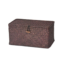 海草编收纳箱有盖编织收纳盒整理箱藤编筐竹编篮手编桌面储物篮子