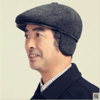 秋冬季中老年男士帽子加棉老人帽男冬天毛呢帽护耳防风鸭舌帽爷爷