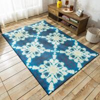 欧式简约地中海蓝色沙发茶几地毯 客厅卧室薄款榻榻米家用地垫子