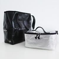 日系手提便当包套装保温包午餐袋大小容量便当袋饭盒包 黑色 大号/可单肩
