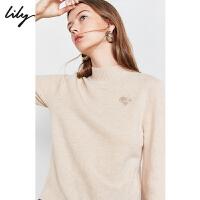 【不打烊价:296元】 【100%纯羊毛】Lily2019冬新款女装全羊毛动物立领毛针织衫8980