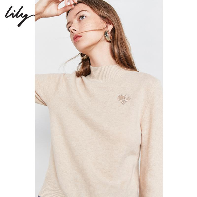 【100%纯羊毛】Lily2019冬新款女装全羊毛动物立领毛针织衫8980