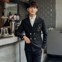 春秋新款男士韩版修身绣花西服潮流青年男式休闲西装外套上衣 黑色