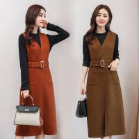 2017秋冬新款韩版修身收腰显瘦长袖毛呢连衣裙女中长款两件套裙子