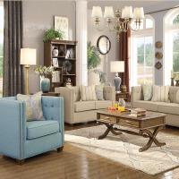 【限时直降3折】美式古典布艺沙发实木沙发 简约现代小户型客厅组合家具