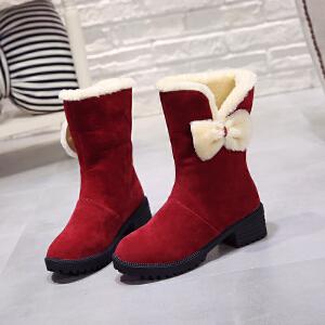 Mr.zuo2017冬季新款加绒加厚保暖雪地靴女短筒可爱韩版百搭红色棉鞋短靴
