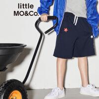 littlemoco夏季新品男童裤子松紧腰星星印花全棉运动裤休闲裤短裤