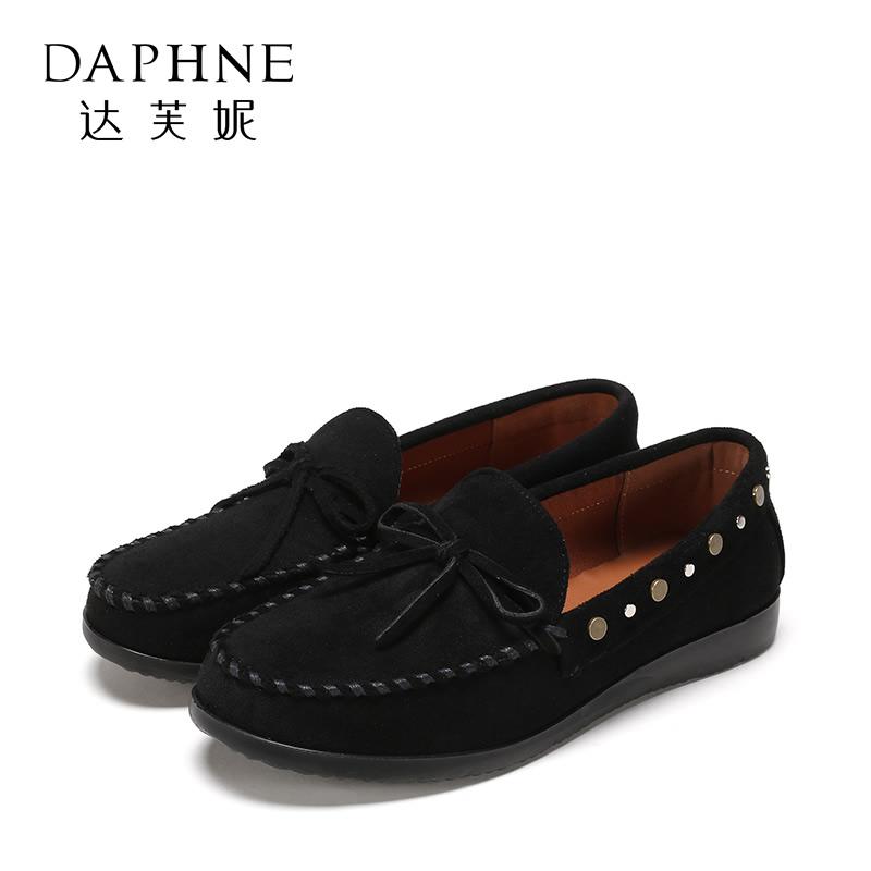 Daphne/达芙妮 旗下女鞋春季圆头平底女深口单鞋女时尚一脚套单鞋 正品保证 支持专柜验货 断码不补货