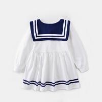 女童学院风连衣裙宝宝海军领长袖裙儿童可爱收腰裙子