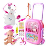 儿童医生玩具套装听诊器医药箱打针3-5岁男女孩过家家 拉杆【声光】粉 吊瓶 衣服 娃娃