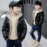 儿童装男童加绒皮衣夹克冬装外套洋气