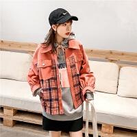 七格格橙红色短款牛仔外套女宽松韩版2020新款春季格子拼接棒球服