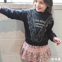 女童加绒卫衣秋冬装新款花边长袖T恤韩版百搭加厚中大儿童打底衫