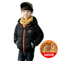 韩版冬装潮 男童棉衣2017新款冬款儿童棉袄中大童短款厚款外套 黑 色