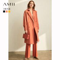 【到手价:258元】Amii极简时尚博主气质风衣女2019秋季新款腰带收腰修身中长款外套