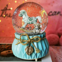 音乐盒创意雪花水晶球艾莎公主音乐盒独角兽送儿童女孩生日礼物
