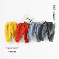 77 冬季新款婴幼儿男女童大口袋加绒螺纹靴裤