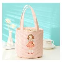 学生手提饭盒袋圆形冰袋可爱卡通抽绳布包防水便当包带饭保温包包 粉红色 【小版】