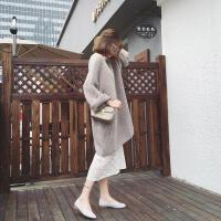 大码女装秋冬装港风时髦微胖遮肉洋气套装胖mm减龄显瘦裙子两件套 灰色毛衣+白色连衣裙