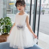 女童夏季儿童裙子公主裙 童装珍珠蝴蝶结白色网纱裙