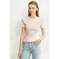 【到手价:63元】Amii极简百搭圆领短袖修身T恤2020夏季新款纯色圆领显瘦上衣女