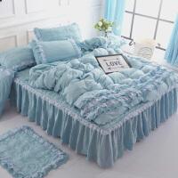 韩版纯棉床裙四件套床罩式1.5/1.8M床全棉加厚防滑床套款床上用品 加厚 蓝色
