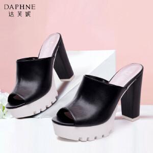 Daphne/达芙妮春夏季女鞋 圆头高跟厚底防水台鱼嘴鞋女凉鞋-
