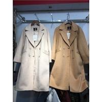 B7冬季新款韩版仿貂绒大衣 女加厚中长款修身呢子毛呢外套1.6