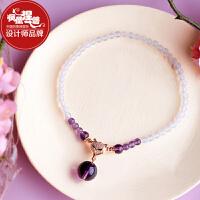 凤凰涅磐脚链女 天然紫水晶玛瑙简约个性时尚复古中国风原创饰品