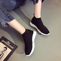 套脚弹力袜子鞋女潮韩版厚底休闲运动鞋秋冬新款黑色平底板鞋