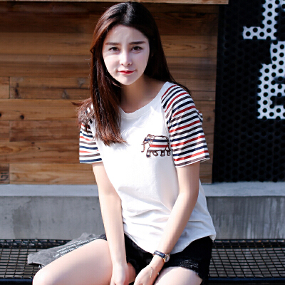 夏装新品韩版宽松百搭圆领条纹拼接袖贴布图案棉短袖T恤女