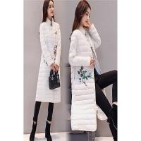 时尚中国民族风中长款棉衣女刺绣过膝2017冬装新款立领棉袄子