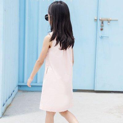 AMII童装2017夏女童纯色翻领连衣裙中大童简约立领无袖衬衫裙装.