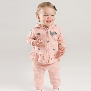 戴维贝拉儿童秋装新款女童休闲连帽两件套装DBM7763