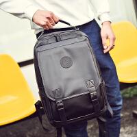 背包双肩包男时尚潮流旅行包新款大容量学生休闲书包韩版电脑包潮 黑色款2 1001