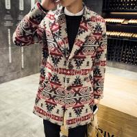 秋冬时尚呢子风衣男士加肥加大码中长款毛呢大衣宽松外套韩版男装 如图